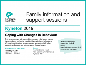 Dementia Australia present Coping with Changes in Behaviour